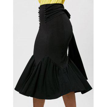 Belted Midi Mermaid Skirt - BLACK BLACK