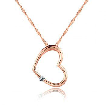 Hollow Heart Pendant Singapore Twist Chain Necklace