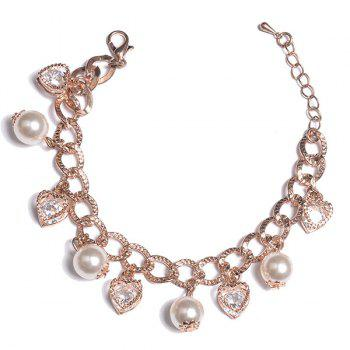 Rhinestone Heart Faux Pearl Charm Bracelet - ROSE GOLD ROSE GOLD