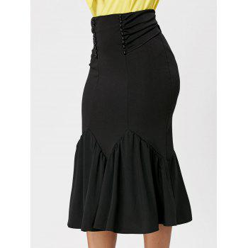 Belted Midi Mermaid Skirt - BLACK 2XL