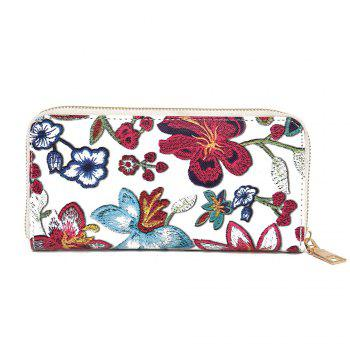 Zip Round Embroidery Clutch Wallet