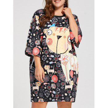 Plus Size Funny Kitten Print Tee Dress