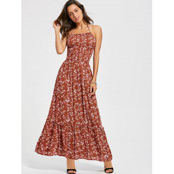 Back Lace Up Floral Maxi Halter Sundress - RED L