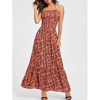 Back Lace Up Floral Maxi Halter Sundress - RED XL
