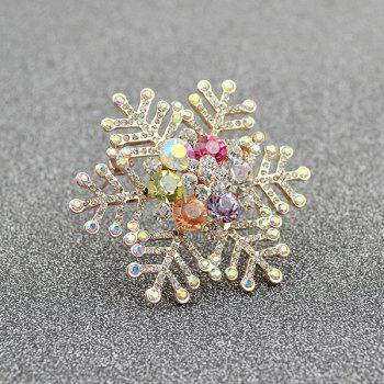 Winter Rhinestone Snowflake Shape Brooch - GOLDEN