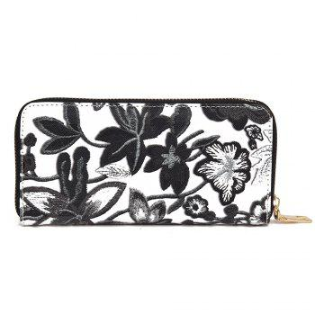 Zip Round Embroidery Clutch Wallet - BLACK BLACK