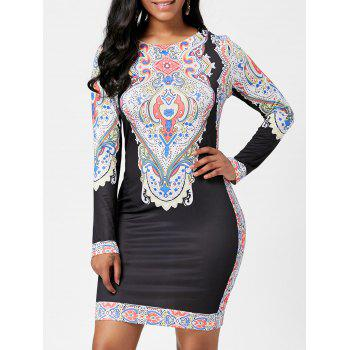 Long Sleeve Tribal Print Mini Dress