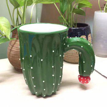Novelty Cactus Ceramic Mug with Special Handle - GREEN GREEN