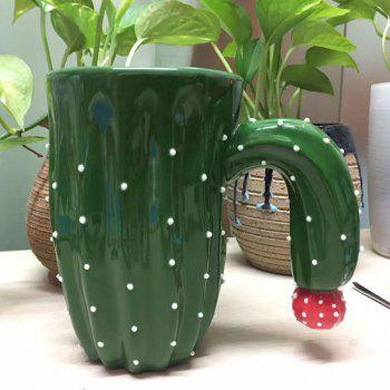 Novelty Cactus Ceramic Mug with Special Handle - GREEN