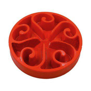 Slow Food Pet Feeder Prevent Choking Dog Bowl - RED RED