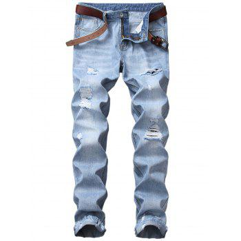 Straight Leg Blends Wash Distressed Jeans