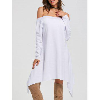 Off The Shoulder Long Sleeve Asymmetric Dress