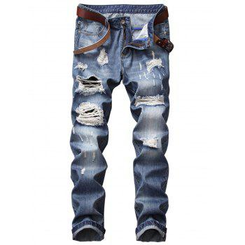 Bleached Effect Straight Leg Distressed Jeans