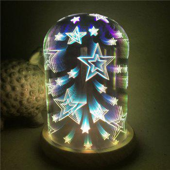3D Glass Shade Colourful Stars Decoration Night Light