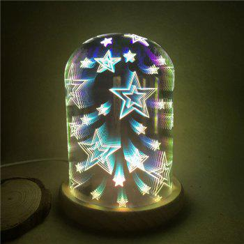 3D Glass Shade Colourful Stars Decoration Night Light - COLORFUL