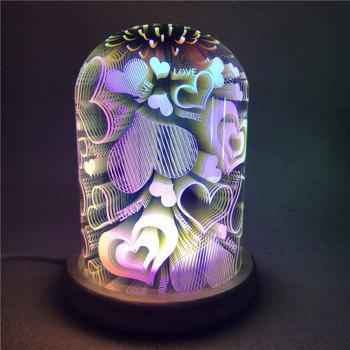 3D Colourful Glass Shade Hearts Night Light -  COLORFUL