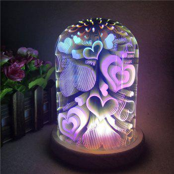 3D Colourful Glass Shade Hearts Night Light