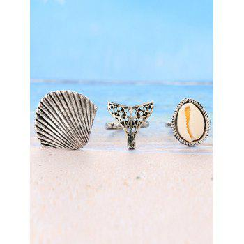 3 Pieces Sea Shell Embellished Rings