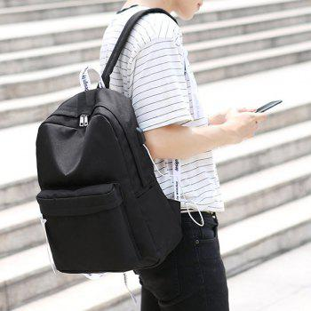 Nylon USB Interface Zippers Backpack - BLACK