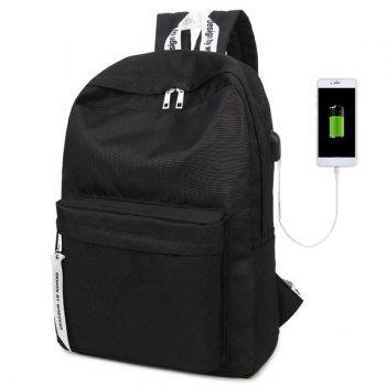 Nylon USB Interface Zippers Backpack