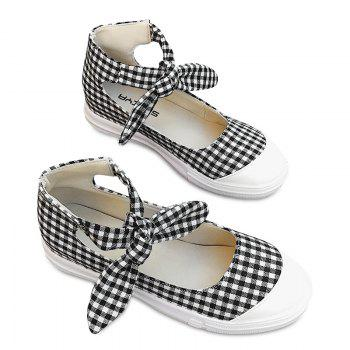 Ankle Cuff Gingham Bow Flat Shoes