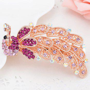 Peacock Shape Artificial Crystal Inlaid Barrette - PINK PINK