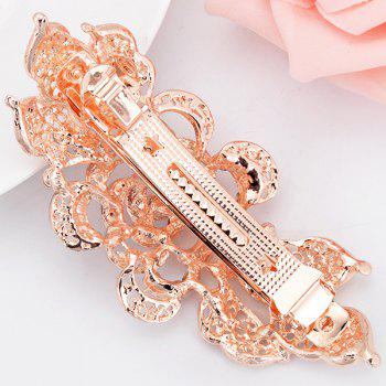 Peacock Shape Artificial Crystal Inlaid Barrette -  PINK