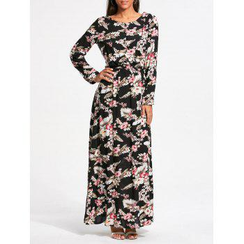 Long Sleeve Tiny Floral Printed Maxi Dress