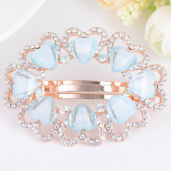 Tiny Heart Rhinestone Embellished Round Design Barrette - BLUE BLUE
