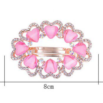 Tiny Heart Rhinestone Embellished Round Design Barrette -  LIGHT PINK