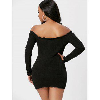 Off The Shoulder Mini Bodycon Sweater Dress - BLACK BLACK