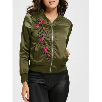 Plum Blossom Embroidery Bomber Jacket