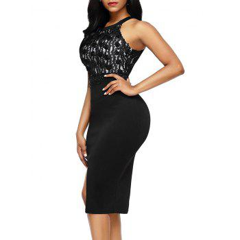 Sleeveless Floral Applique Pencil Dress - L L