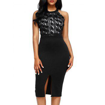Sleeveless Floral Applique Pencil Dress - BLACK L