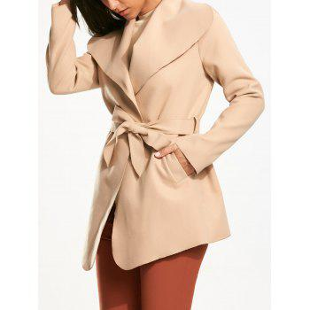 Belted Wrap Plain Coat Pocket