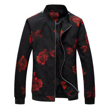 Zip Up Rose Printed Bomber Jacket - RED RED
