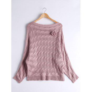 Dolman Sleeve Floral Cable Knit Sweater