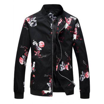 Zipper Up Flower Pattern Bomber Jacket - RED RED