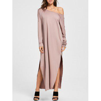 Maxi Long Sleeves Slit Dress