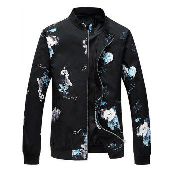 Zipper Up Flower Pattern Bomber Jacket - BLUE BLUE
