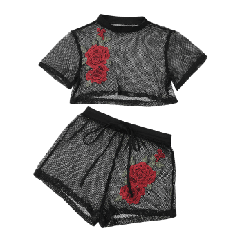 Patched Floral Mesh Crop Top with Shorts - BLACK L