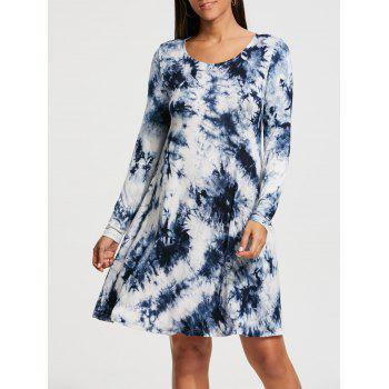 Long Sleeve Tie Dyed Print Shift Dress