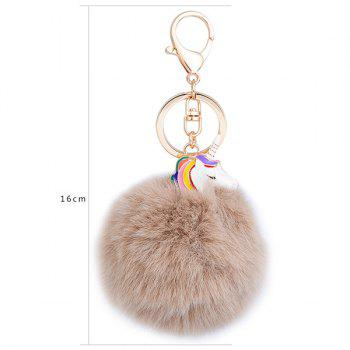 Pompon Puff Ball Pendant Keychain -  COFFEE