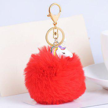 Pompon Puff Ball Pendant Keychain - RED RED