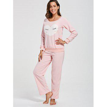 Heart Panel Fleece Sweatshirt with Pants Loungewear Set - PINK XL