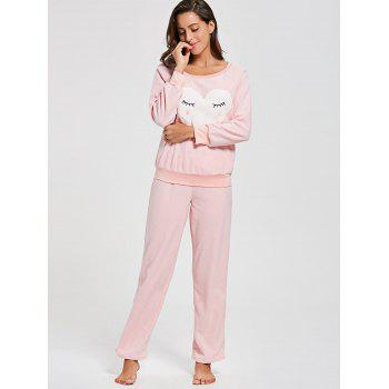 Heart Panel Fleece Sweatshirt with Pants Loungewear Set - PINK M