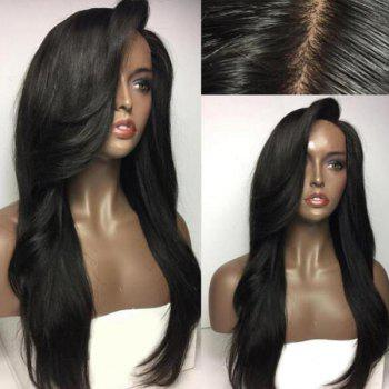 Long Deep Side Parting Natural Straight Synthetic Wig