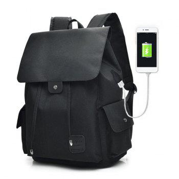 Drawstring USB Interface Backpack - BLACK BLACK