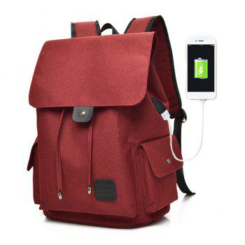 Drawstring USB Interface Backpack - RED RED