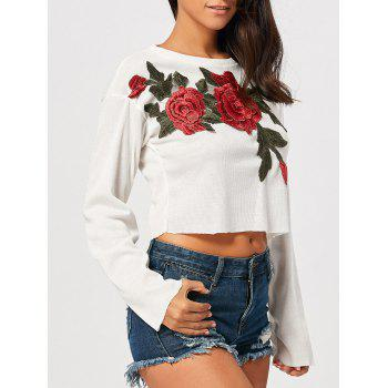 Long Sleeve Embroidered Drop Shoulder Cropped Top - WHITE WHITE